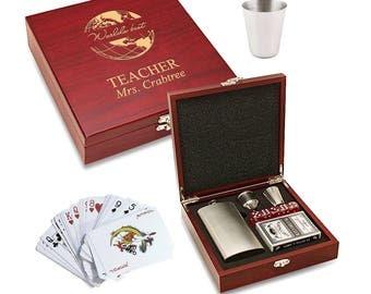 World's Best Teacher Cards & Hip Flask Gift Set - Personalized Teacher Games and Hip Flask Set - Engraved Wood Box Gambling Games Set
