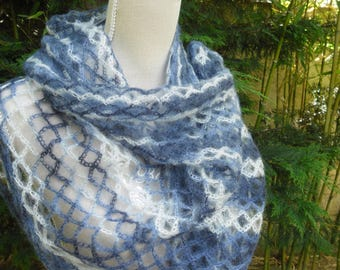 SCARF crocheted in mohair and silk