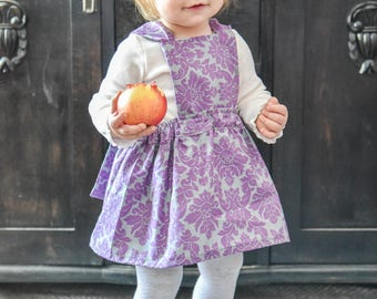 Pinafore with gray and purple