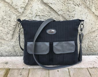 Men's Messenger Bag with Leather Accents