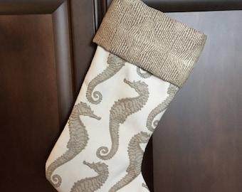 Christmas stocking, seahorse, beach decor, Christmas decor, Coastal Christmas Stocking, Gift under 30