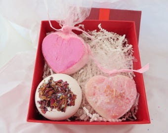 Sweetheart Collection Bath Bomb Set/Soap Set/Pink Bath/Rose  Bath Bomb/Valentine's Day Gift/Strawberries & Champagne