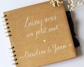 Livre d'Or kraft personnalisé Laissez-nous un petit mot + prénoms | Mariage champêtre et original | Guest book personnalisé