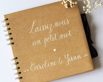 Personalized kraft guestbook leave us a few words + names. Rustic and original wedding. Guest book personalized