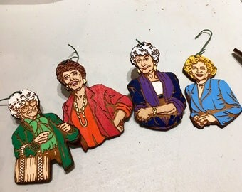 Golden Girls Christmas Ornament Set | Stay Golden Wood Holiday Gift Pack