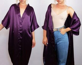 Vintage Short Sleeve Plum Purple Kimono / Robe / Duster | Open front Maxi Kimono Robe | One size
