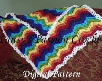 Rainbow Ripple Baby Blanket Crochet Pattern. Instant Download