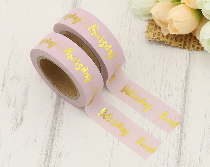 Washi Tape - Foil Washi Tape - Gold foil days of the week Washi Tape - Paper Tape - Planner Washi Tape - Washi - Decorative Tape - Paper Tap