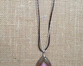 Pendant necklace, Raw pendant necklace, Brown agate necklace, Long necklace.