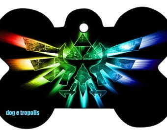 Colorful Triforce Zelda Link Rainbow Custom Pet ID Tag Identification Dog Cat Tags Picture Photo withe Key Ring