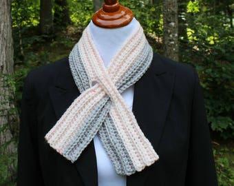 Skinny Keyhole Scarf, Pull Thru Scarf, Crochet Scarf, Short Scarf, Neckwarmer, Winter Fashion, Teen Scarf, Women's Scarf