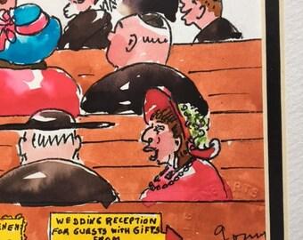"""Mid Century. Vintage. Steve(Stefan) GOMMERMAN - GOMY Original Watercolor """"Jewish Wedding"""""""