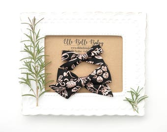 Black & Rose Gold Floral Schoolgirl Hair Bow - Hand-tied hairbow-Evy bow -Cotton Baby Headband - Newborn Hairbow - Toddler Hair Clip