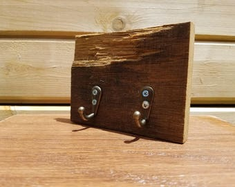 Reclaimed Wood Key Hook Holder with Bronze Hooks