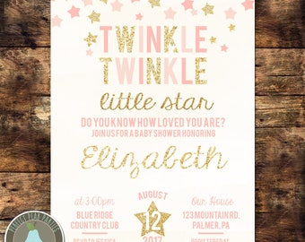 Twinkle Twinkle Little Star Baby Shower Invitation Pink Gold Glitter