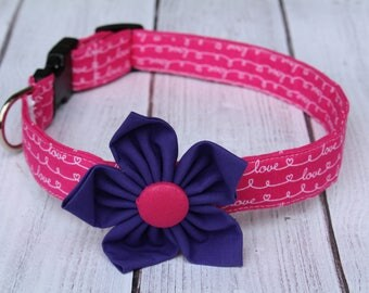 Love Dog Collar and Flower - Valentine's Day Dog Collar - Hearts Dog Collar - Dog Collar with Flower - Valentine's Day Dog Leash