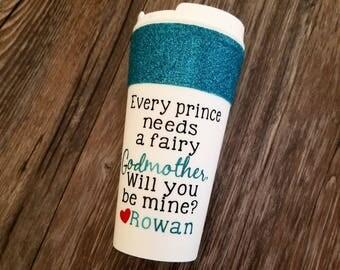 Fairy Godmother gift, Godmother gift,  Baptism gift, Godmother mug, Godmother proposal, Pregnancy announce, travel mug, glitter mug