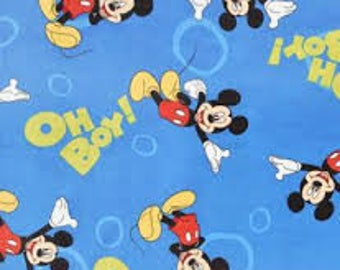 "Oh Boy Mickey! on Blue Flannel by Springs Creative fabric, By the Half Yard, 42"" wide, 100% cotton"
