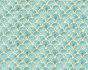"""Teal Vintage Scallops Metallic fabric, By the Half Yard, 44"""" wide, 100% cotton, quilt fabric, mermaid fabric, vintage fabric, scallop fabric"""