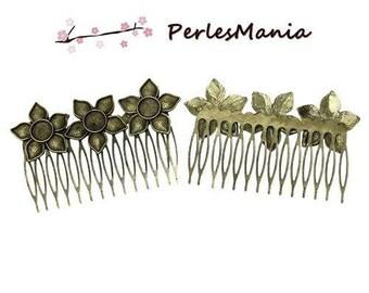 1 large comb Triple flowers BRONZE 8.4 cm x 5.3 cm, DIY