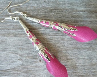 earings  ethnic worked cone and pink leather fushia