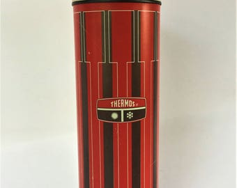 Vintage 1971 Red, Brown and Yellow King-Seely Metal Thermos (1 Quart)