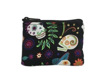 20% OFF SALE Mariachi Sugar Skulls Coin Bag // Change Purse // Pouch // Dia de los Muertos // Day of the Dead // Calaveras