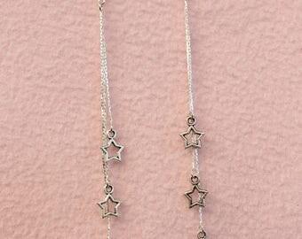 Triple Star Long Dangly Earrings