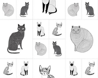 "Moda ""Catnip"" by Gingiber ~ Catnip Cats Galore Panel ~ White 48231 11 ~ Large & Small Cats"