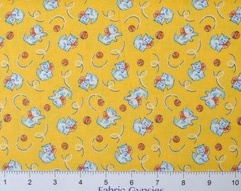 "Washington Street Studio ""Toy Box Miniatures"" by Sara Morgan KITTENS on Yellow  26748-YEL1 ~ Half Yard Increments"