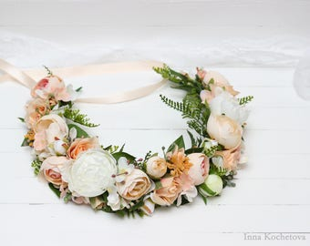Peach white peony flower crown Wedding hair wreath Bridal floral headband Floral accessories Flower halo Headpiece Maternity photo props