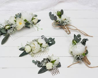 White peony eucalyptus flower comb Floral accessories Wedding comb Bridal headpiece Boutonniere Bridesmaid Outdoor Buttonhole Flower girl