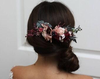 Burgundy pink beige flower comb floral headpiece Bridal hair comb Flower accessories Bridesmaid Outdoor wedding Wedding hair piece