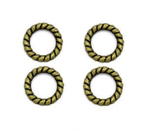 set of 10 carved closed rings, bronze, 10 mm