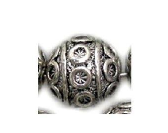 Set of 4 antique silver beads Tibetan bali 8 mm flower