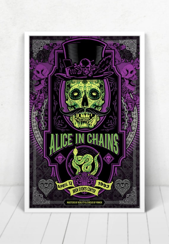 Alice In Chains Concert Poster - Illustration [Alice In Chains / Bren Events Center - Irvine, CA - April 12, 1993]