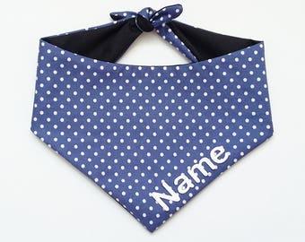 Classic Polka Dot Dog Bandana Personalised Personalized Custom Cat Bandana Blue Spot Tie On Bandana Neckerchief Boy Dog Collar Accessories