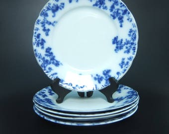 """W H Grindley Antique Lunch, Salad or Desert Plate, """"Olympia"""" Flow Blue, 4 Available, Hand Painted Gold Accents, 7 7/8 Diameter, 1891 - 1914"""