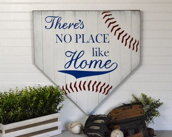 "Large Painted Wood Sign on Distressed White Washed Pallet There's No Place Like Home 24""x24"""