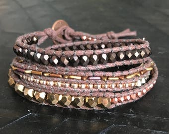 Rose Gold, Bronze and Gold Wrap Bracelet