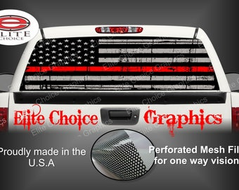 Firefighter Red Line Flag Rear Window Graphic Tint Decal Sticker Truck SUV Van Car
