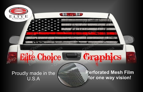Firefighter Red Line Flag Rear Window Graphic Tint Decal