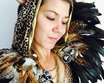 Feather and chain festival epaulette, Burner style festival feather wings, mad max shoulder pieces, Burning Man feather epaulettes, wings