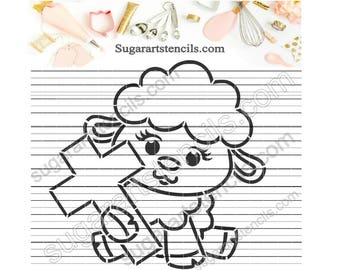 Easter lamb PYO cookie stencil ST00217