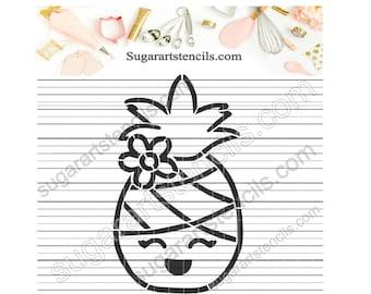 Pineapple girl PYO cookie stencil summer beach ST00517