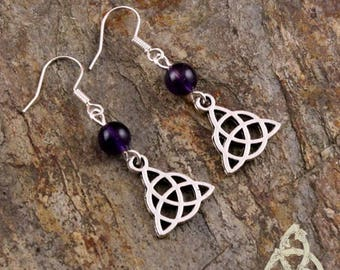Celtic earrings Melora Triquetra silver Amethyst dark purple medieval férique Gothic pagan wicca esoteric