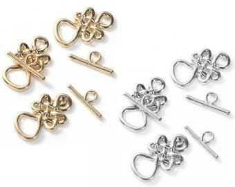 2 toggle clasps in metal gold or silver 2.3 cm