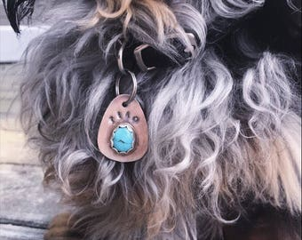 Made to order dog tag, with royston turquoise.