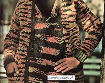 Mens Sweater Set, Plus Size, Crochet Pattern. PDF Instant Download.