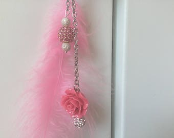 Jewelry holder, flower, feather and rhinestone